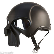 3D SKULL SKELETON MATTE BLACK HALF MOTORCYCLE CRUISER CHOPPER BIKER HELMET DOT