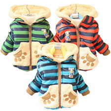 Baby Kid Boy Girl Winter Jackets Teddy Bear Hoodie Fleece Coat Outerwear 1T-3T
