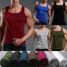 New Men's 100% Premium Cotton A-Shirt Top Quality Muscle Ribbed Wife Beater/Tank