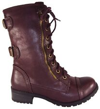 Soda Women Combat Army Military Motorcycle Riding Boots Red Burgundy Buckle DOME