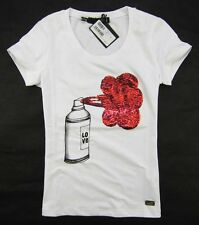 "Love Moschino Women's Shiny Red Beads ""Love Spraying"" T-Shirt/Top 19073"