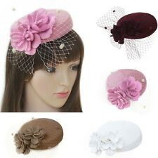 Women vintage style Fascinator Wool Pillbox Mini Hat Cocktail Party Wedding A226