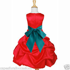 RED CHRISTMAS HOLIDAY QUINCEANERA PAGEANT FLOWER GIRL DRESS 2 4 6 8 10 12 14 16