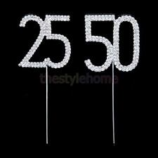 Crystal Diamante Cake Topper 18th-70th Anniversary Birthday Party Decor Supplies