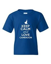 Keep Calm And Love Cameroon Country Patriotic Novelty Youth Kids T-Shirt Tee