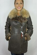 NEW BROWN 100% SHEEPSKIN SHEARLING LEATHER REAL RED FOX COAT JACKET FUR XS-6XL