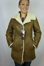 TOBACCO CAMEL BROWN 100% REAL SHEEPSKIN SHEARLING LEATHER COAT JACKET FUR XS-6XL