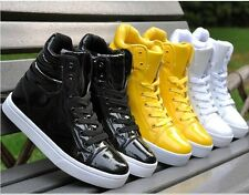 High-top men's casual shoes magic buckle PU  edition sneakers+socks