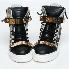 New Womens Shoes High Top Wedge Hidden Heel Leopard Gold Velcro Fashion Sneakers