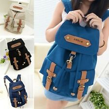 Vintage Canvas Satchel Backpack Rucksack Shoulder School Bag Sapphire women Cute