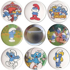 The Smurfs Set of 8 Pinback Buttons, Magnets or FlatBacks - Papa Smurf Pin Badge