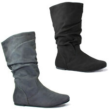 New Womens Mid-Calf Slouchy Flat Boots Scrunch Faux-Suede Black Soda Zurich-S