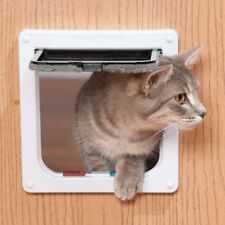 cat mate lockable cat flap 4way locking with door liner two color brown/white