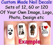 Set Of 12, 60 OR 120 x Nail Art Decals CUSTOM MADE Personalised Your Own Image