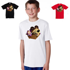masha and the bear personalised 100% cotton childs full color t shirt
