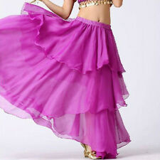 TMS ORCHID Spiral Skirt Belly Dance 3 layer Circle Costume Gypsy Club HOT JUPE