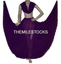 TMS PURPLE Full Circle Skirt + Veil Belly Dance Costume Tribal Gypsy JUPE VOILE