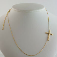 10K YELLOW GOLD SIDEWAYS POLISHED CROSS 16-18 inch ADJUSTABLE NECKLACE