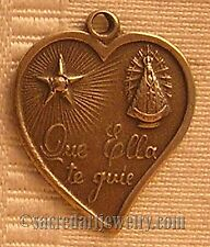 Antique Religious Medal Catholic Sterling Silver / Bronze Spanish #1129