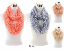 Womens Crochet Confetti Light Weight 4 Color Infinity Scarf