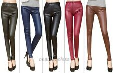 Lady's Sexy Skinny Stretch Tights Pants Imitation Leather Leggings 10 Colors