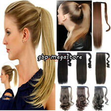 UK* Clip In Ponytail Pony Tail Hairpiece hair extensions Curly straigh As Human