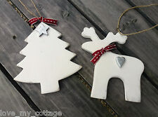 Shabby Chic Wooden White Reindeer Heart Christmas Tree Decoration East of India