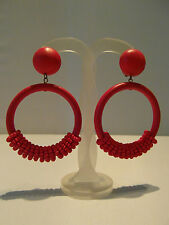Wooden Clip on Bright Colourful Bead Hoop Carnival African Statement Earrings