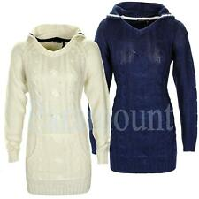 Cable Knit Hooded Long Sleeve Jumper Dress  Womens Size