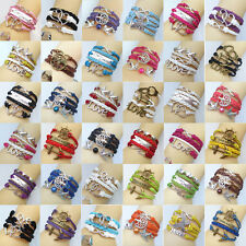 HOT DIY Jewelry Fashion Lots Style Leather Lovely Infinity Charm Bracelet U pick