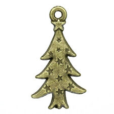 "Wholesale Lots Charm Pendants Christmas Trees Bronze Tone 26mmx14mm(1""x4/8"")"