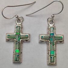 Sterling Silver Handmade Inlay Cross Hook Dangle Earrings