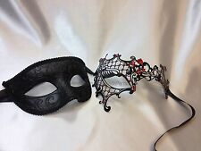Black Masquerade mask pair for couple Halloween Costume Dress up Party Mask