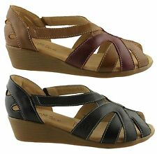 CUSHION COMFORT FREDA WOMENS/LADIES LEATHER SANDALS/STRAPPY/COMFORTABLE/WEDGES