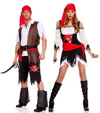 Newest Couple Pirate Costumes Outfit Pair Partner Fancy Halloween Dress Cosplay