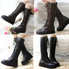 Womens Rock Style Lace Up Knee High Leg Platform Steampunk Gothic Military Boots
