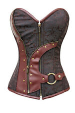 Hot Brown Zip Up Brocade Steampunk Overbust Women Corset Bustier Corset