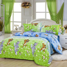 Tom and Jerry Cute Kids Bedding Set Duvet Cover with Flat Sheet Pillow Shams