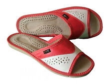 Womens 100% Natural Leather Slippers Mules Slip On Sandals Size 3 4 5 6 7 8 UK