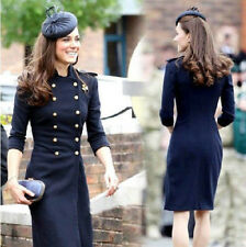 Princess kate womens Double Breasted wool long Jacket coat trench navy S-XL
