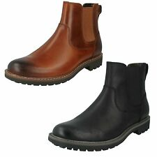 MONTACUTE TOP MENS CLARKS SLIP ON ELASTICATED LEATHER CHELSEA ANKLE BOOTS