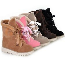 Fashion Womens Winter Casual Faux Leather Scrub Fur Flat Ankle Snow Boots