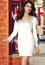 Honeystore O-neck Studded Pleated Long Sleeves White Mini Cocktail LC2613