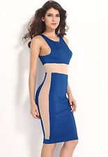 2014 Most Popular Tank Top Blue Midi Sexy Mesh Bodycon LC6332