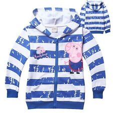 New Arrivals Peppa Pig Clothes Kids Boys Hoodies Striped Jacket Coat Outwear