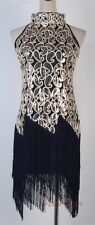 1920's Flapper Black Dress Sexy Clubwear Great Gatsby Sequin & Tassel RR 3225