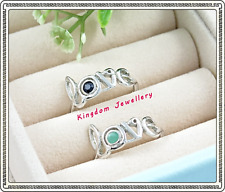 925 Sterling Silver Love Message Sapphire, Emerald, Ruby Gemstone Rings Size 8