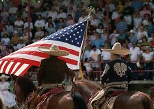 ART PRINT Posters   Cowboys at Mexican Rodeo with American Flag