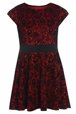 Womens Plus Size Black Red Floral Flock Skater Dress Cap Sleeves Sizes 16-26