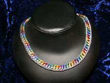 """Gay Pride 14-24"""" Chainmail Necklace 16ga Bright Alum/Rainbow Steam Larp Cosplay"""
